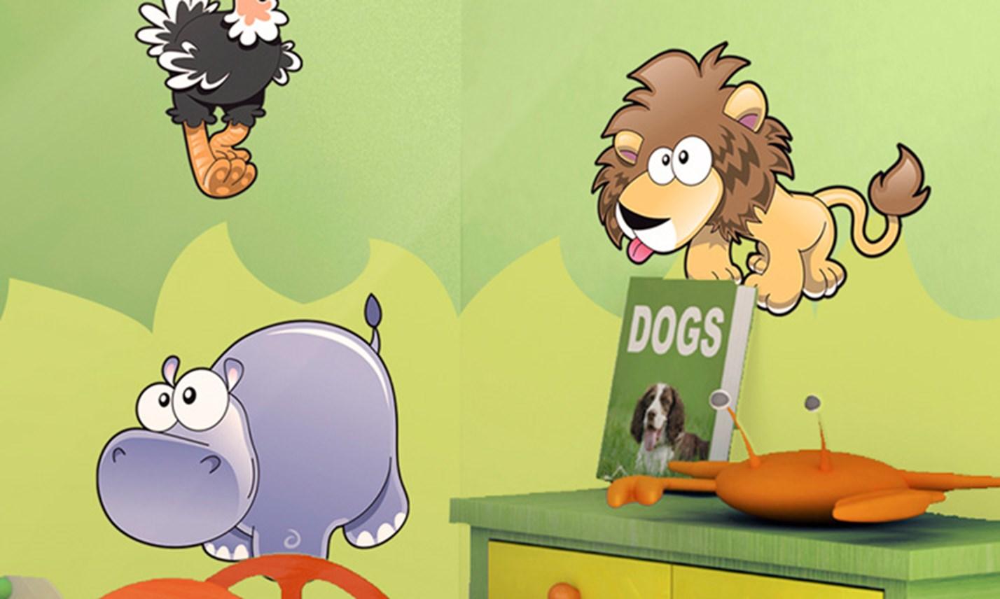 Stickers murali bambini cameretta animali della savana - Decorazioni camerette bambini immagini ...